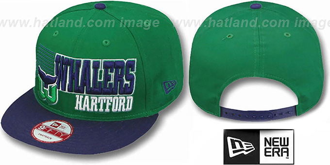 Whalers '2T BORDERLINE SNAPBACK' Green-Navy Hat by New Era : pictured without stickers that these products are shipped with