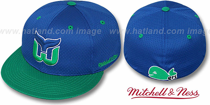Whalers '2T BP-MESH' Royal-Green Fitted Hat by Mitchell & Ness : pictured without stickers that these products are shipped with