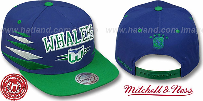 Whalers '2T DIAMONDS SNAPBACK' Navy-Green Adjustable Hat by Mitchell & Ness : pictured without stickers that these products are shipped with