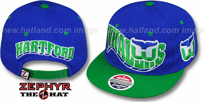 Whalers '2T FLASHBACK SNAPBACK' Royal-Green Hat by Zephyr : pictured without stickers that these products are shipped with