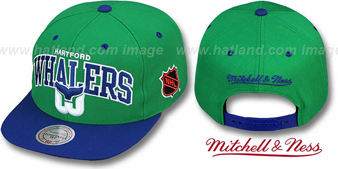 Whalers '2T TEAM ARCH SNAPBACK' Adjustable Hat by Mitchell & Ness : pictured without stickers that these products are shipped with