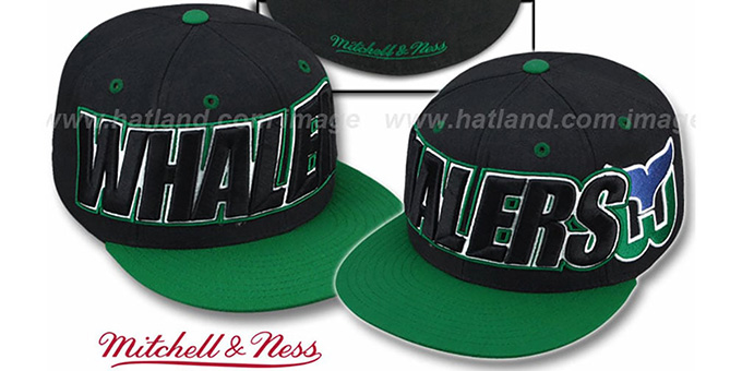 Whalers '2T WORDMARK' Black-Green Fitted Hat by Mitchell & Ness : pictured without stickers that these products are shipped with