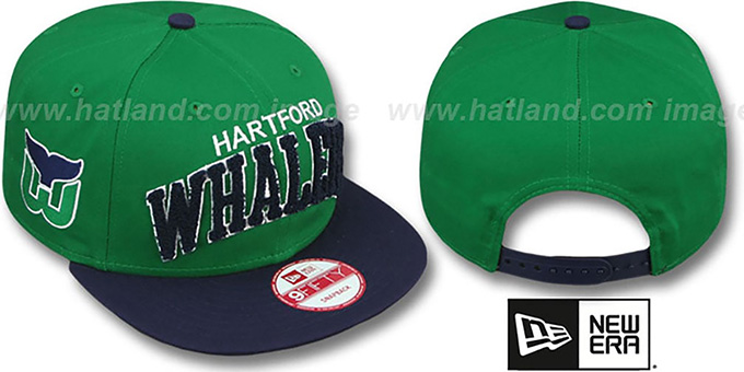 Whalers 'CHENILLE-ARCH SNAPBACK' Green-Navy Hat by New Era : pictured without stickers that these products are shipped with