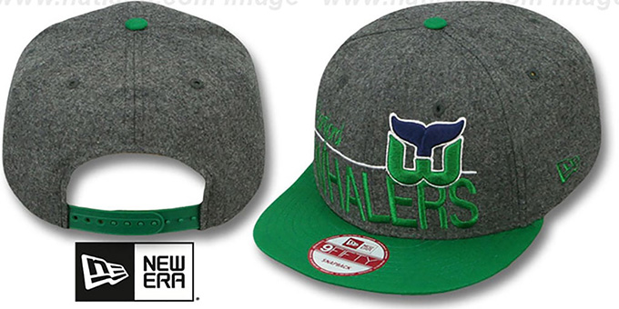 Whalers 'FLANNEL SNAPBACK' Grey-Green Hat by New Era : pictured without stickers that these products are shipped with