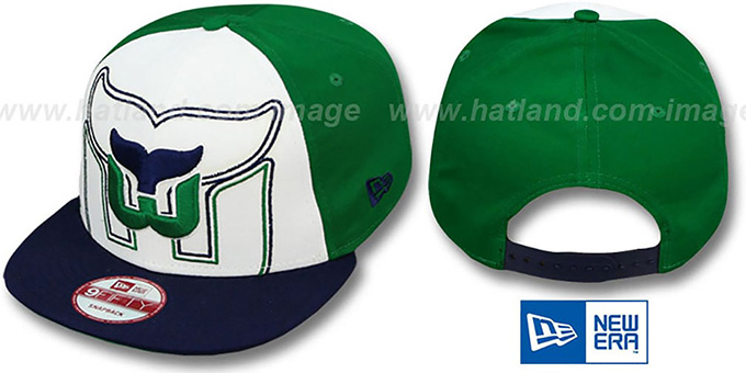 Whalers 'LITTLE-BIG POP SNAPBACK' White-Green-Navy Hat by New Era : pictured without stickers that these products are shipped with