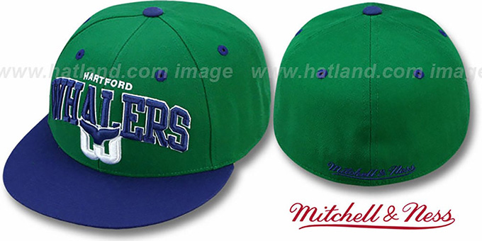 Whalers 'NHL 2T TEAM-ARCH' Green-Navy Fitted Hat by Mitchell & Ness : pictured without stickers that these products are shipped with