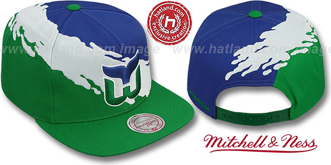 9c99c042d46 Whalers  PAINTBRUSH SNAPBACK  Royal-White-Green Hat by Mitchell   Ness