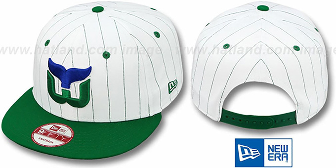Whalers 'PINSTRIPE BITD SNAPBACK' White-Green Hat by New Era : pictured without stickers that these products are shipped with