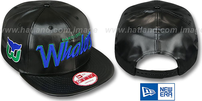 Whalers 'REDUX SNAPBACK' Black Hat by New Era : pictured without stickers that these products are shipped with