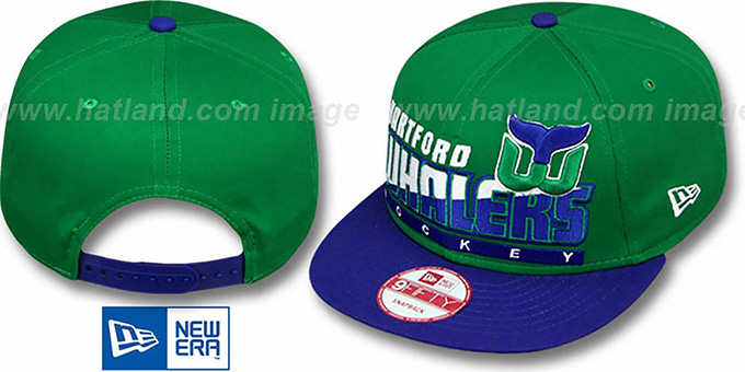 Whalers 'SLICE-N-DICE SNAPBACK' Green-Royal Hat by New Era : pictured without stickers that these products are shipped with