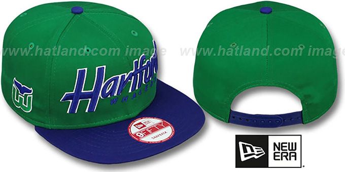 Whalers 'SNAP-IT-BACK SNAPBACK' Green-Royal Hat by New Era : pictured without stickers that these products are shipped with