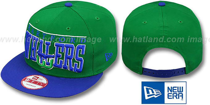 Whalers 'VINTAGE LE-ARCH SNAPBACK' Green-Royal Hat by New Era : pictured without stickers that these products are shipped with