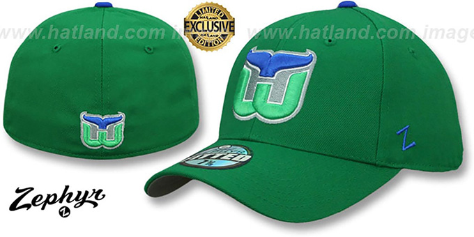 Whalers 'VINTAGE SHOOTOUT' Green Fitted Hat by Zephyr : pictured without stickers that these products are shipped with