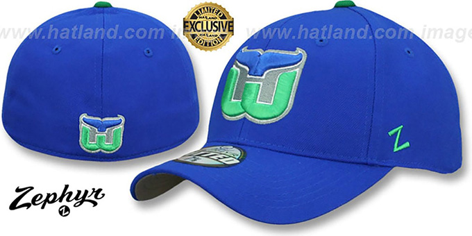 Whalers 'VINTAGE SHOOTOUT' Royal Fitted Hat by Zephyr : pictured without stickers that these products are shipped with