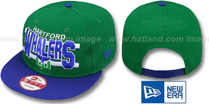 Whalers 'WORDSTRIPE SNAPBACK' Green-Royal Hat by New Era : pictured without stickers that these products are shipped with