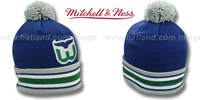 Whalers 'XL-LOGO BEANIE' Navy by Mitchell and Ness : pictured without stickers that these products are shipped with