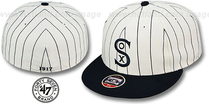 White Sox '1917 COOPERSTOWN ' Fitted Hat by Twins 47 Brand : pictured without stickers that these products are shipped with