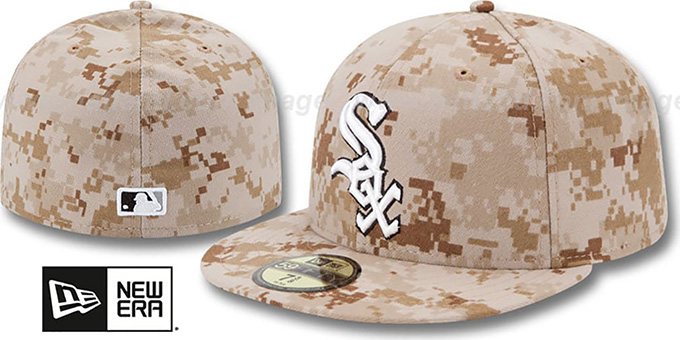 White Sox 2013 'STARS N STRIPES' Desert Camo Hat by New Era : pictured without stickers that these products are shipped with