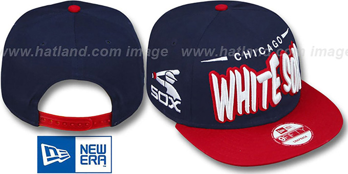 White Sox '2T COOP DOPETASTIC SNAPBACK' Navy-Red Hat by New Era : pictured without stickers that these products are shipped with