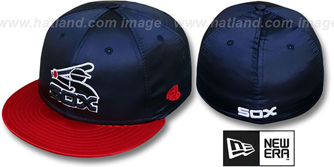 White Sox '2T COOP SATIN CLASSIC' Navy-Red Fitted Hat by New Era : pictured without stickers that these products are shipped with