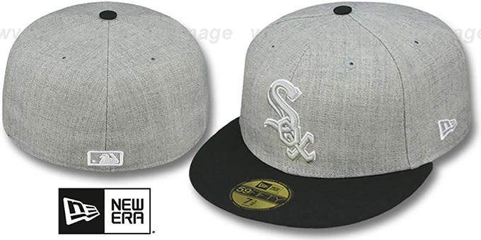 White Sox '2T-HEATHER' Grey-Black Fitted Hat by New Era : pictured without stickers that these products are shipped with