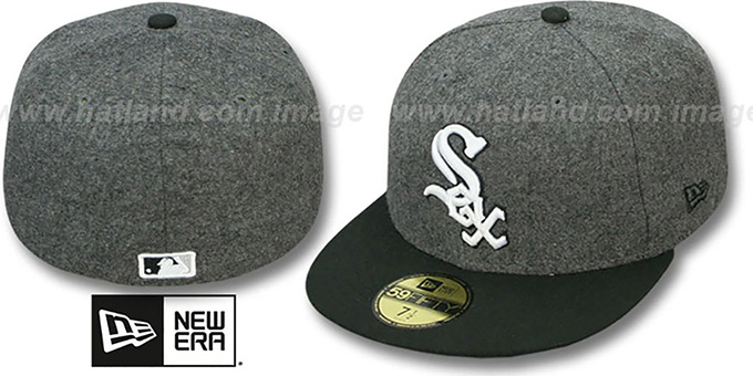White Sox '2T MELTON-BASIC' Grey-Black Fitted Hat by New Era : pictured without stickers that these products are shipped with