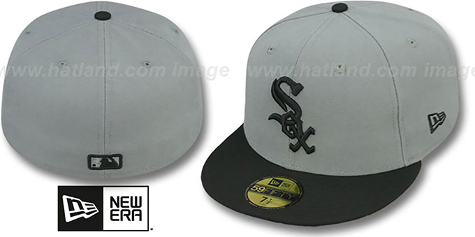 White Sox '2T TEAM-BASIC' Grey-Black Fitted Hat by New Era : pictured without stickers that these products are shipped with