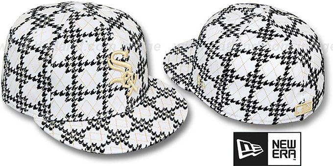 White Sox 'A-TOOTH' White-Black Fitted Hat by New Era : pictured without stickers that these products are shipped with