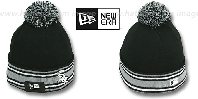 White Sox 'AC-ONFIELD' Black Knit Beanie Hat by New Era : pictured without stickers that these products are shipped with