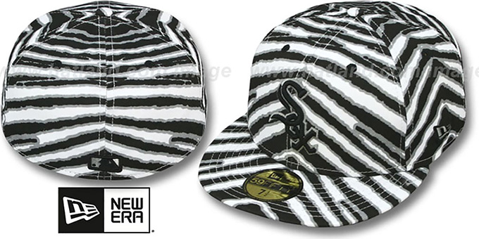White Sox 'ALL-OVER ZUBAZ' Fitted Hat by New Era : pictured without stickers that these products are shipped with