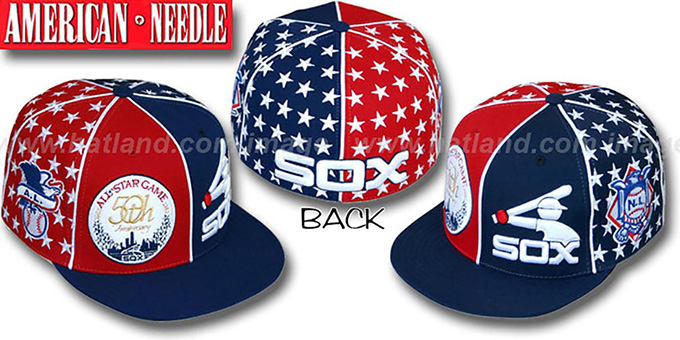 White Sox 'ALL STAR HOLLYWOOD' Red-Navy Fitted Hat : pictured without stickers that these products are shipped with