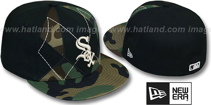 White Sox 'ARMY CAMO BRADY' Fitted Hat by New Era : pictured without stickers that these products are shipped with