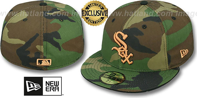 White Sox 'ARMY CAMO' Fitted Hat by New Era : pictured without stickers that these products are shipped with