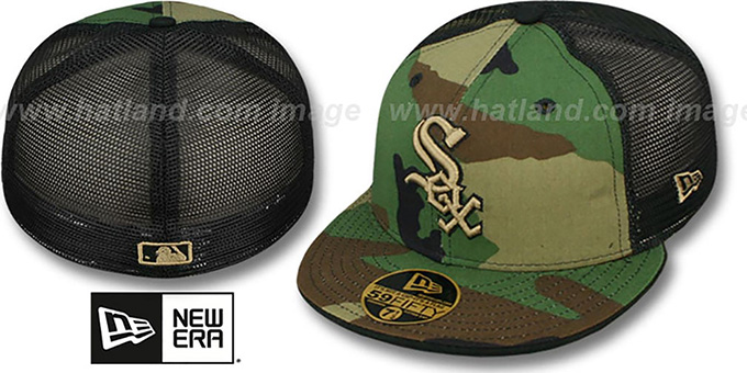 White Sox 'ARMY CAMO MESH-BACK' Fitted Hat by New Era : pictured without stickers that these products are shipped with
