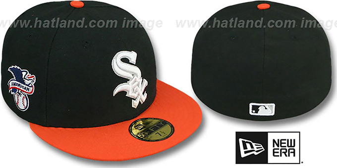 White Sox 'BAYCIK' ALT Black-Orange Fitted Hat by New Era : pictured without stickers that these products are shipped with