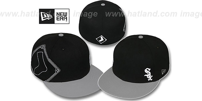 White Sox 'BIG-STITCH' Black-Grey Fitted Hat by New Era : pictured without stickers that these products are shipped with