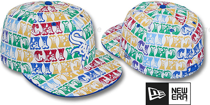 White Sox 'BIG-TOP' White-Multi Fitted Hat by New Era : pictured without stickers that these products are shipped with