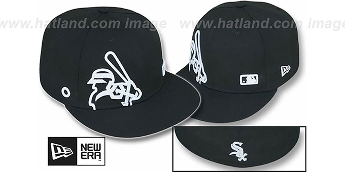 White Sox 'BIGGY FLAW MLB INSIDER' Black Fitted Hat by New Era : pictured without stickers that these products are shipped with