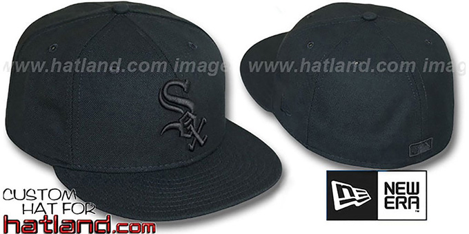 White Sox 'BLACKOUT' Fitted Hat by New Era : pictured without stickers that these products are shipped with