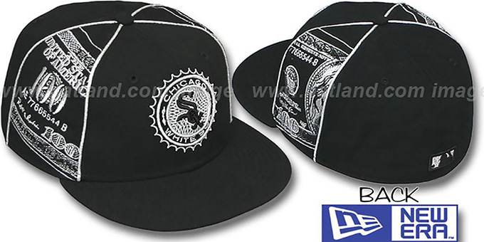 White Sox 'C-NOTE' Black-Silver Fitted Hat by New Era : pictured without stickers that these products are shipped with