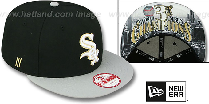 White Sox 'CHAMPS-HASH SNAPBACK' Black-Grey Hat by New Era : pictured without stickers that these products are shipped with