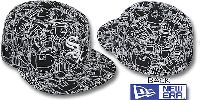 White Sox 'CHAOS PUFFY' Black-White Fitted Hat by New Era : pictured without stickers that these products are shipped with