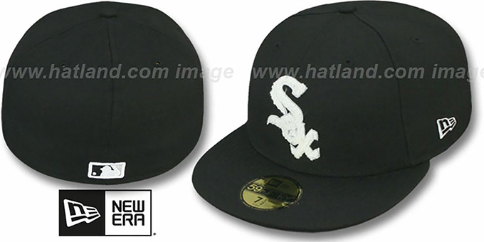 White Sox 'CHENILLE APPLIQUE' Black Fitted Hat by New Era : pictured without stickers that these products are shipped with