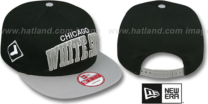 White Sox 'CHENILLE-ARCH SNAPBACK' Black-Grey Hat by New Era : pictured without stickers that these products are shipped with