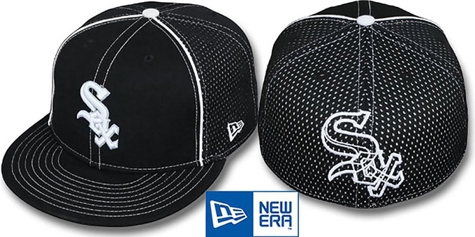 White Sox 'CONTRAST BP-MESH' Black Fitted Hat by New Era : pictured without stickers that these products are shipped with