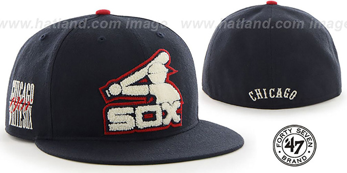 White Sox COOP 'CATERPILLAR' Navy Fitted Hat by 47 Brand : pictured without stickers that these products are shipped with
