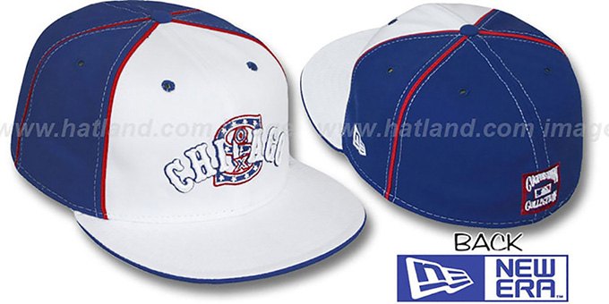 White Sox COOP 'DECEPTOR-2 PINWHEEL' White-Royal Fitted Hat : pictured without stickers that these products are shipped with