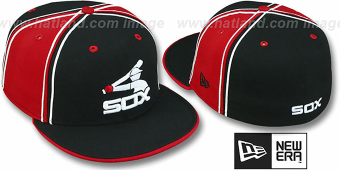 White Sox COOP 'DUAL PIPED PINWHEEL' Black-Red Fitted Hat : pictured without stickers that these products are shipped with