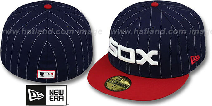 White Sox COOP 'PIN-SCRIPT' Navy-Red Fitted Hat by New Era : pictured without stickers that these products are shipped with
