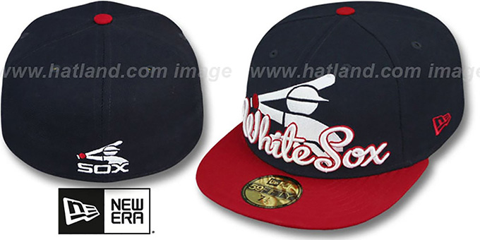 White Sox COOP 'SCRIPT-PUNCH' Navy-Red Fitted Hat by New Era : pictured without stickers that these products are shipped with